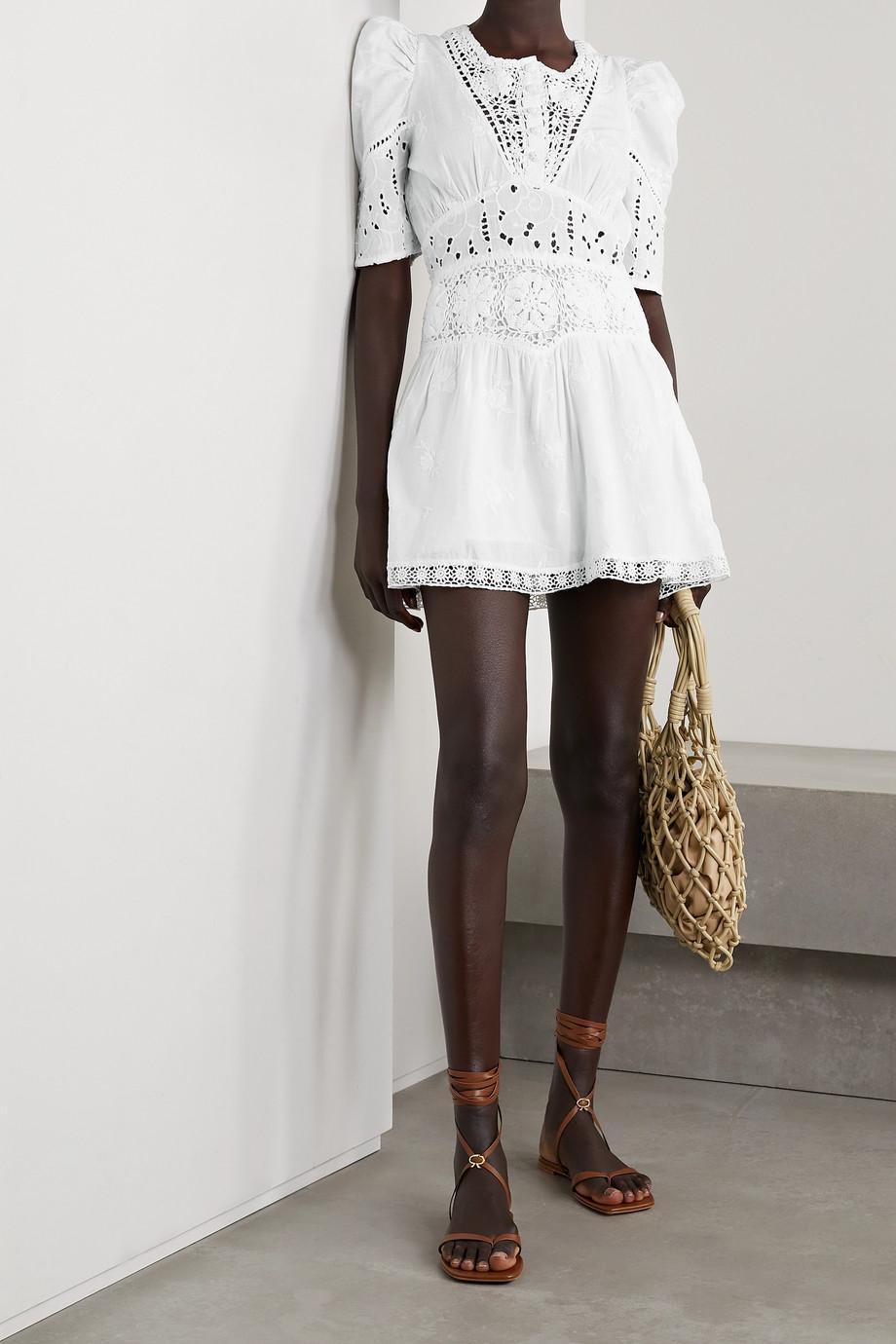 LoveShackFancy Divine crochet-trimmed broderie anglaise cotton-voile mini dress