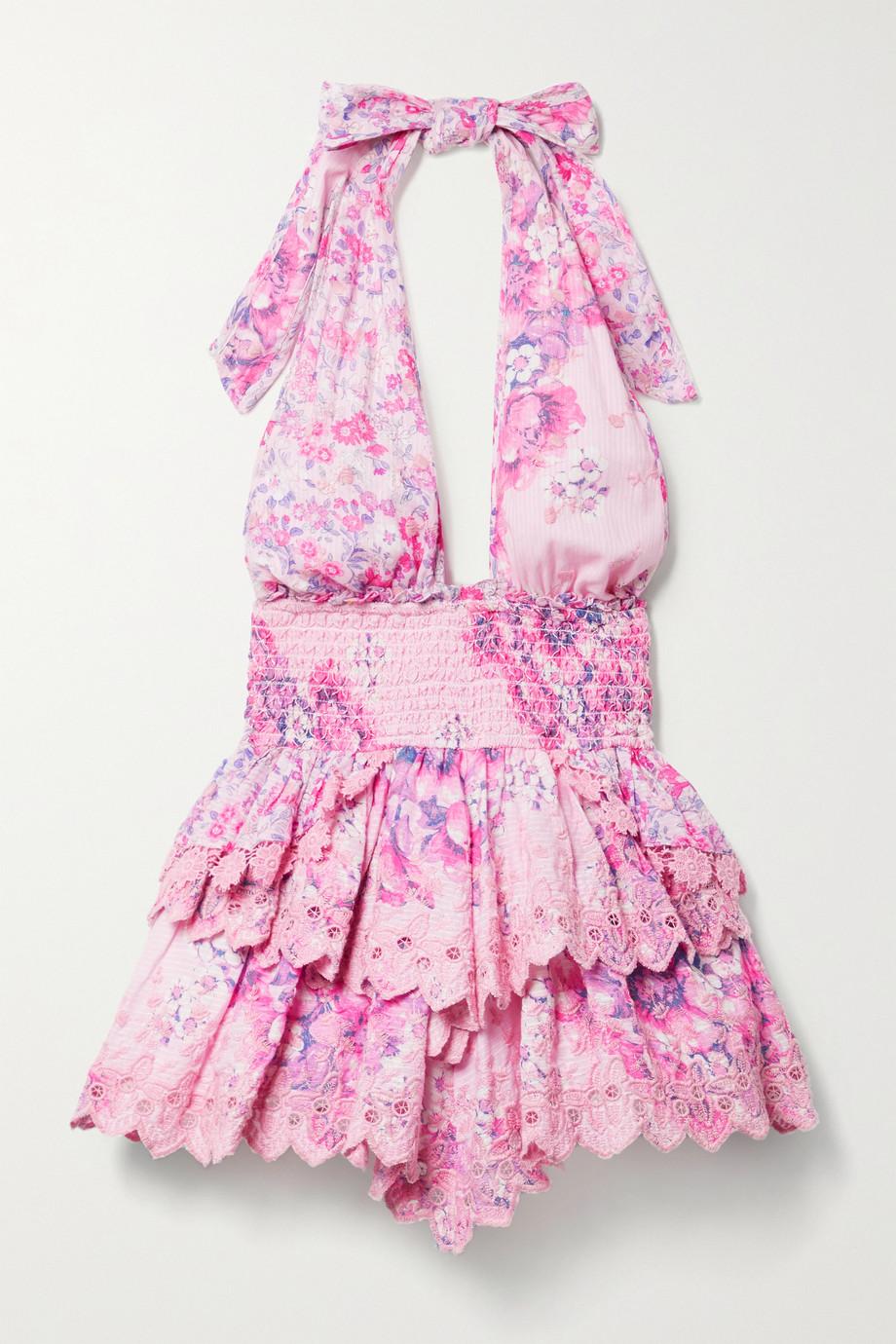 LoveShackFancy Mini-robe dos nu en broderie anglaise de voile de coton à imprimé fleuri Deanna