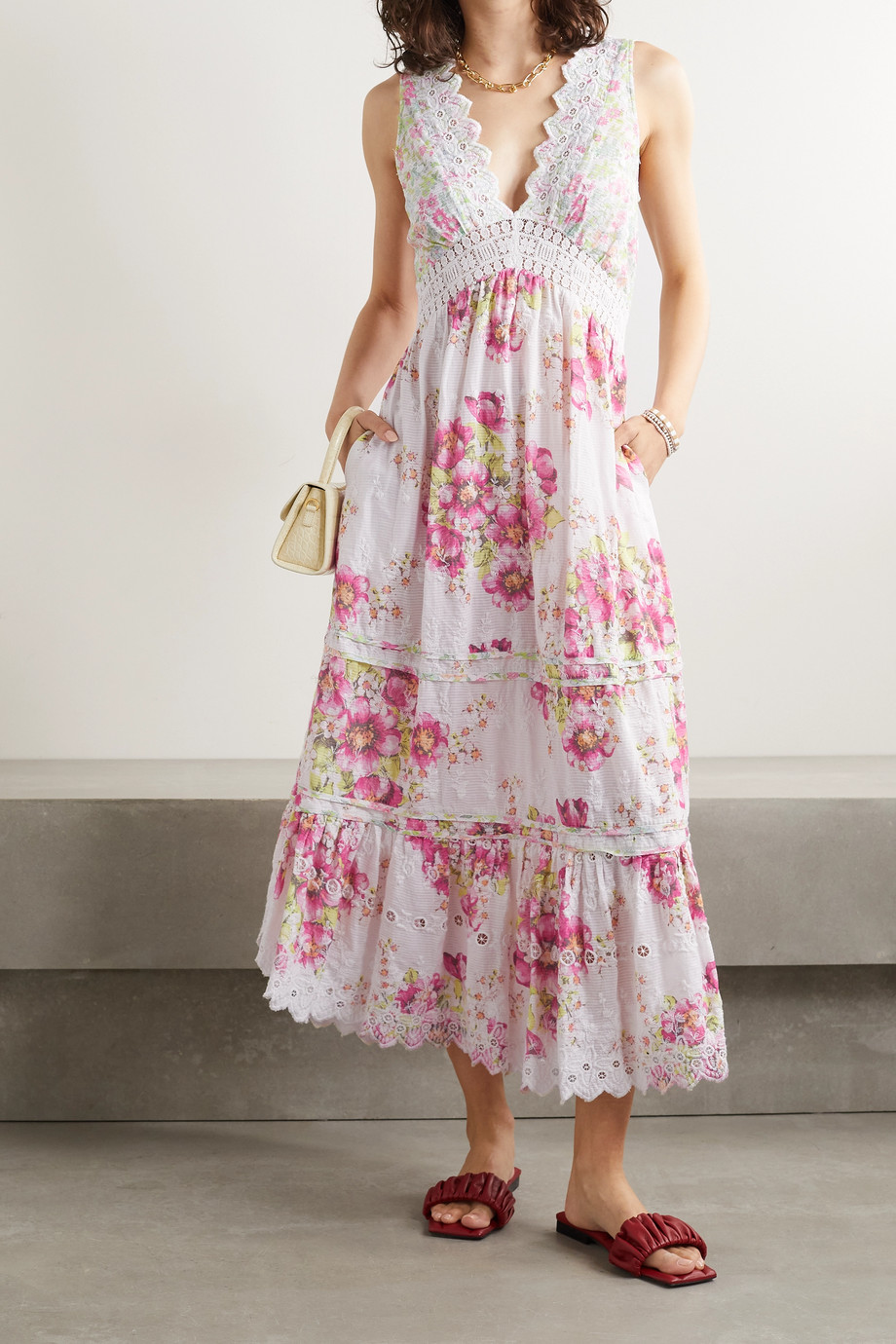 LoveShackFancy Oakley crochet-trimmed floral-print cotton-voile midi dress