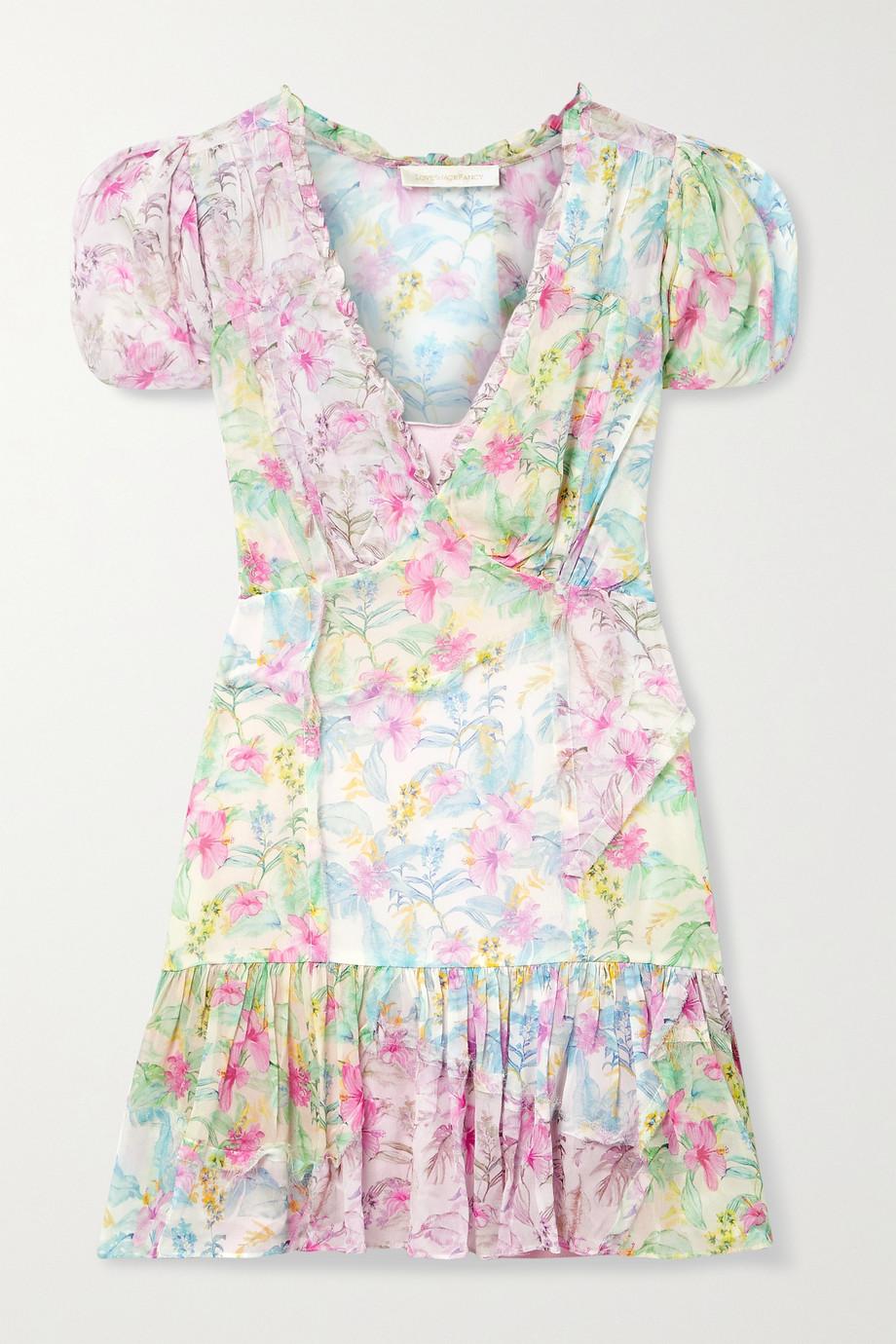 LoveShackFancy Russ ruffled floral-print georgette mini dress