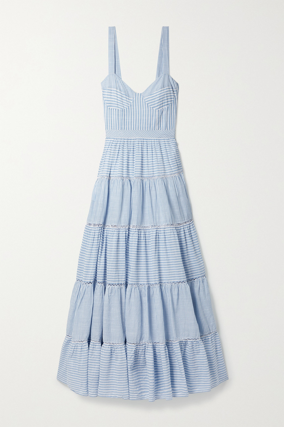 LoveShackFancy Story tiered striped cotton-voile maxi dress