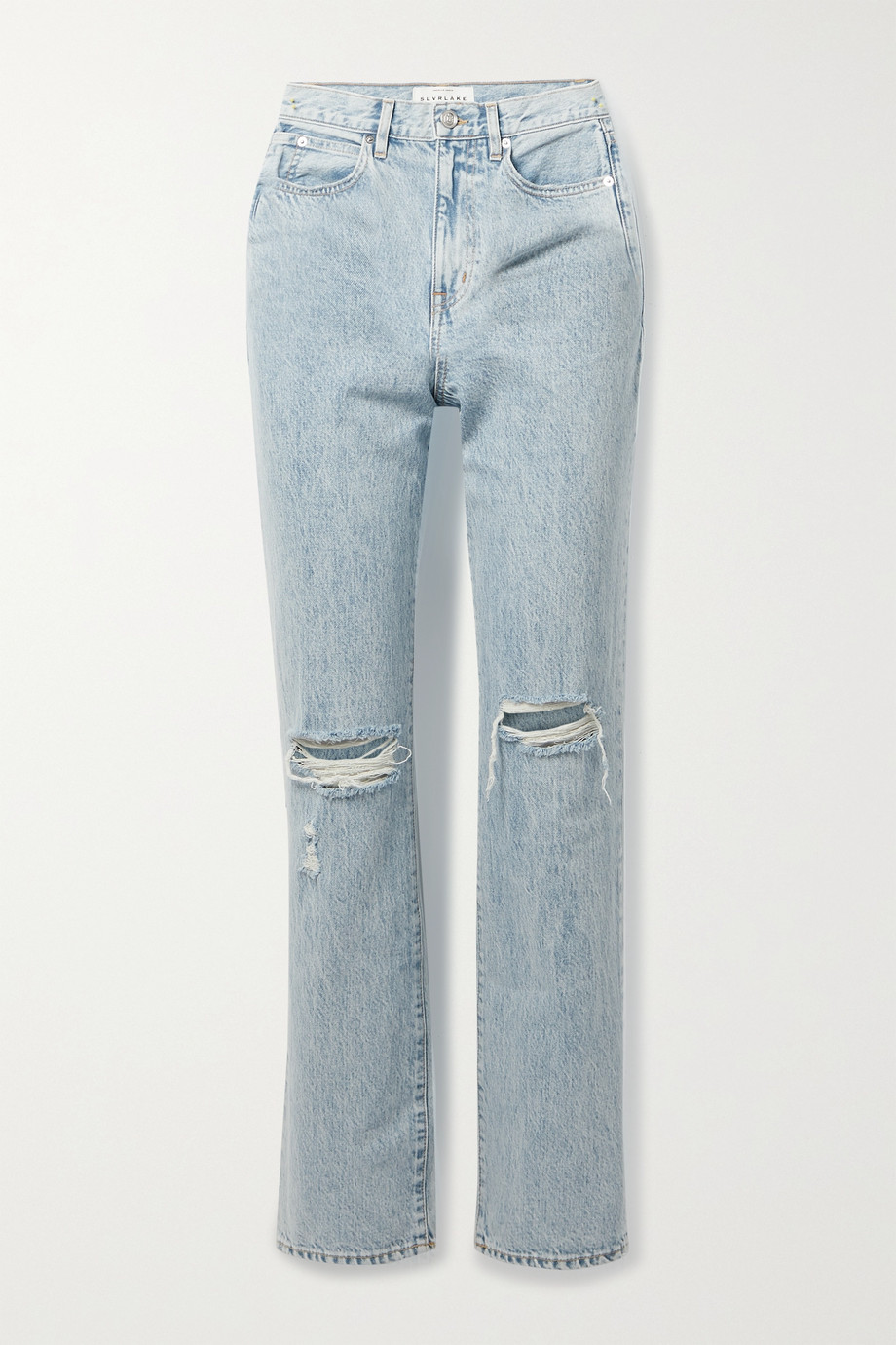SLVRLAKE + NET SUSTAIN London hoch sitzende Jeans mit geradem Bein in Distressed-Optik