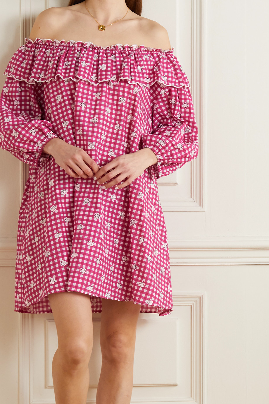 RIXO Bailey off-the-shoulder embroidered gingham cotton-poplin nightdress