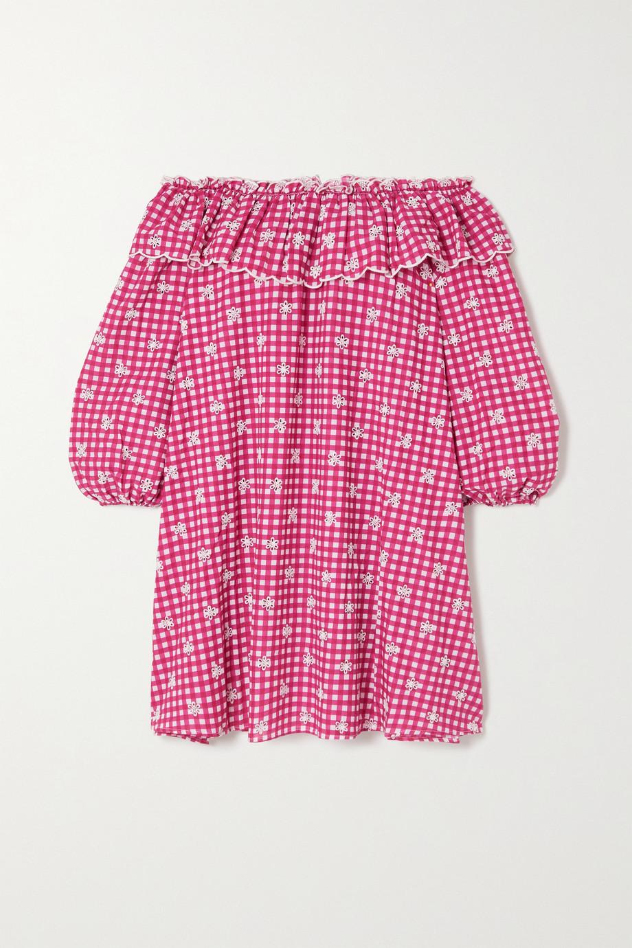 RIXO Bailey schulterfreies Nachthemd aus bestickter Baumwollpopeline mit Gingham-Karo
