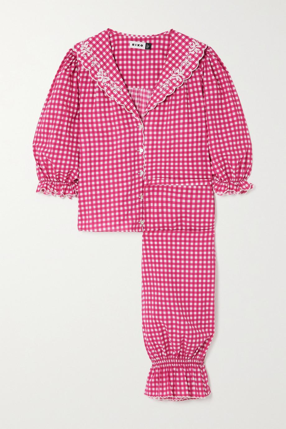 RIXO Vera embroidered gingham cotton-poplin pajama set