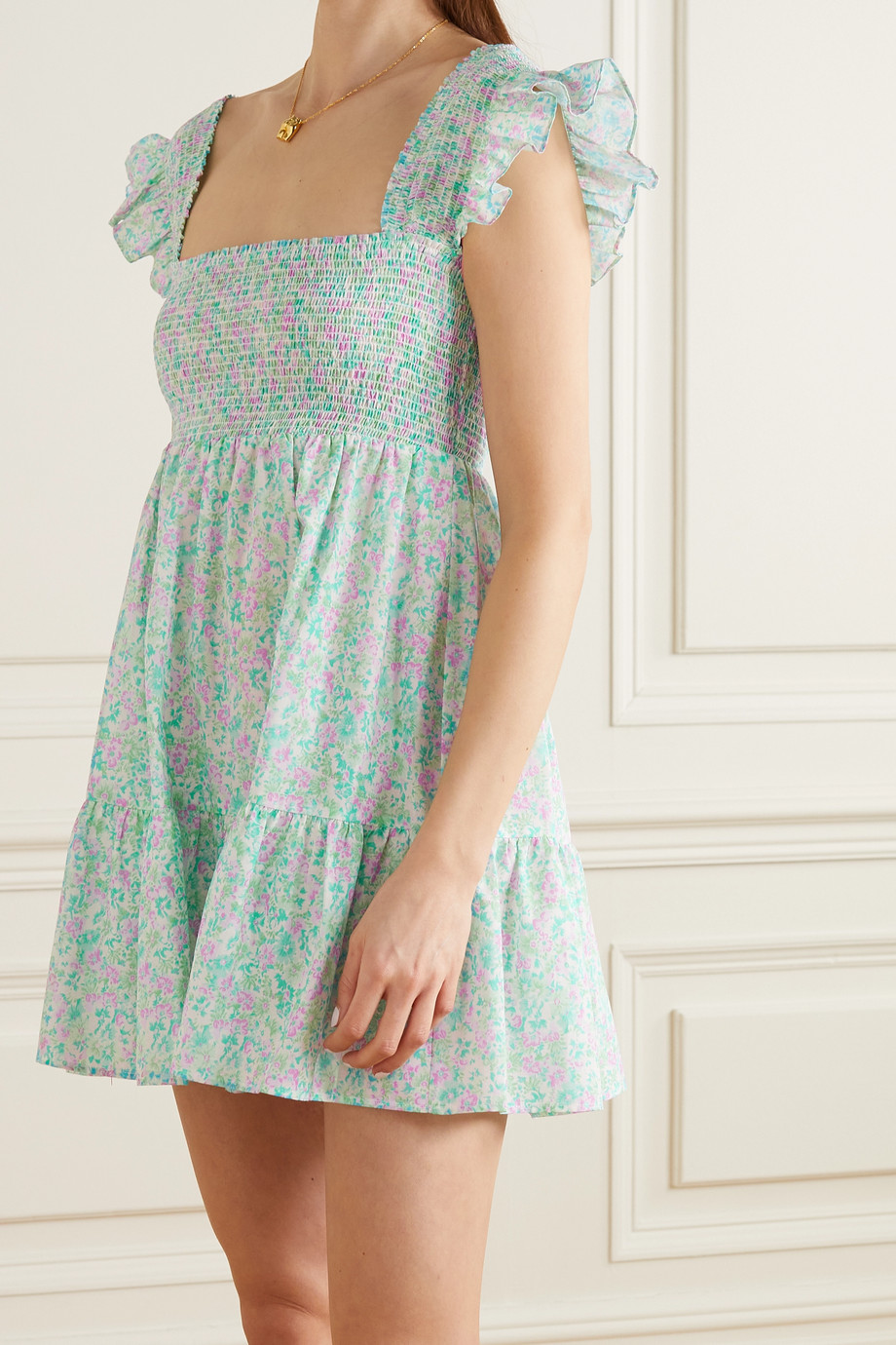 RIXO Polly ruffled shirred floral-print cotton nightdress
