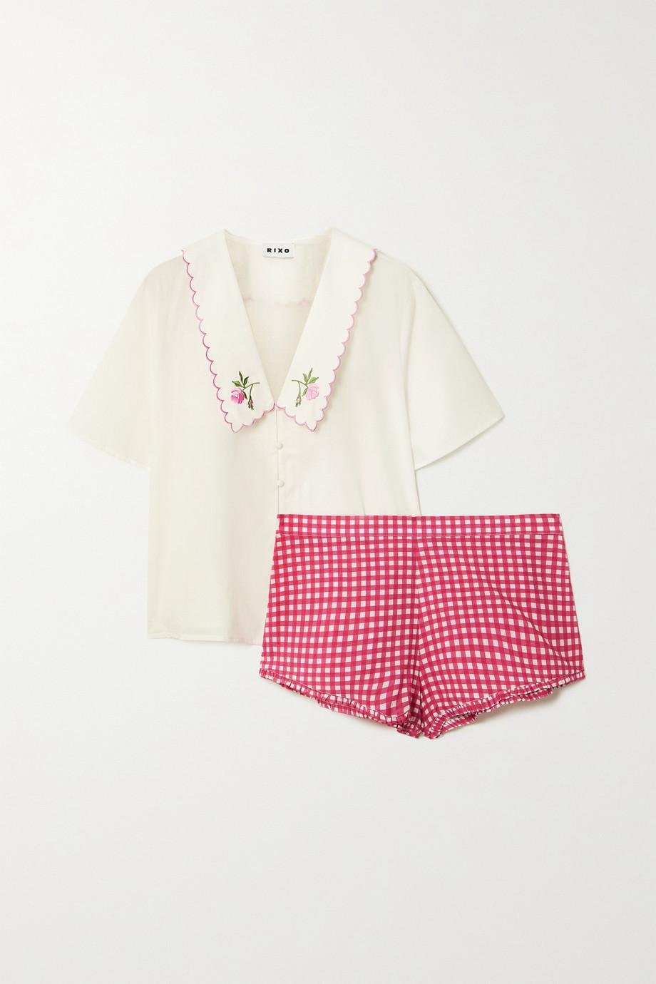 RIXO Flora embroidered cotton-poplin pajama set