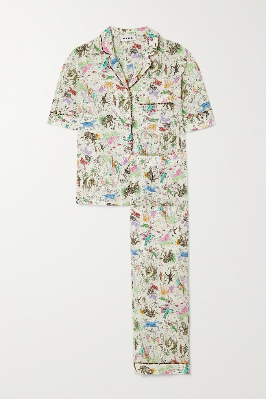 RIXO Austin printed woven pajama set