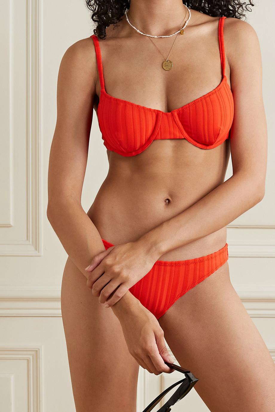 Solid & Striped The Eva geripptes Bügel-Bikini-Oberteil