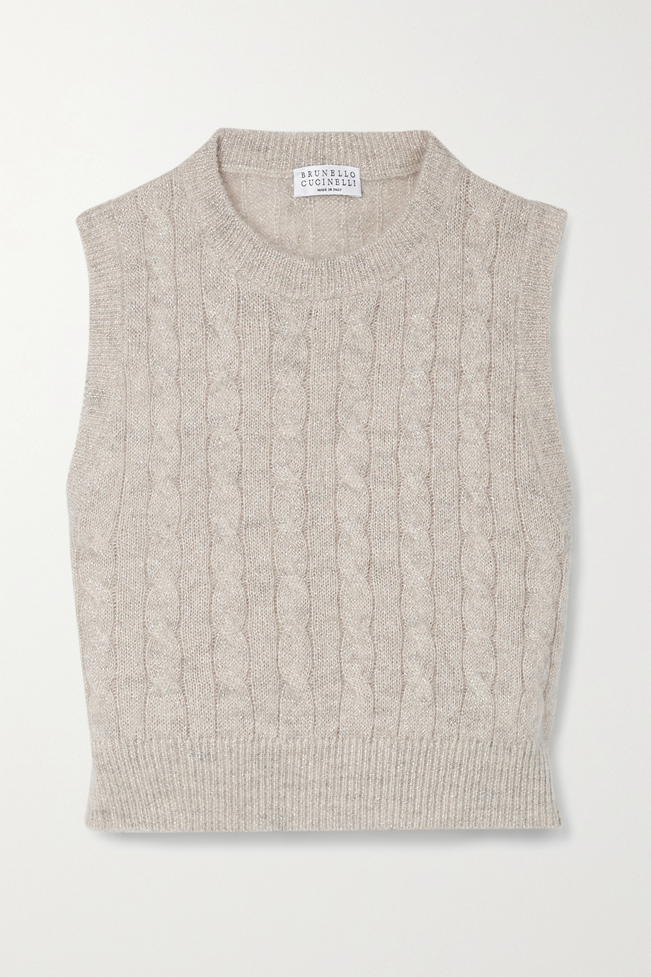 Brunello Cucinelli Cropped metallic cable-knit top