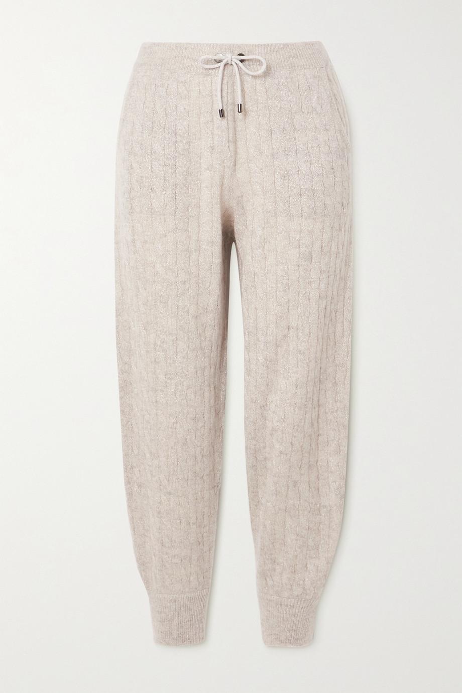 Brunello Cucinelli Metallic cable-knit track pants