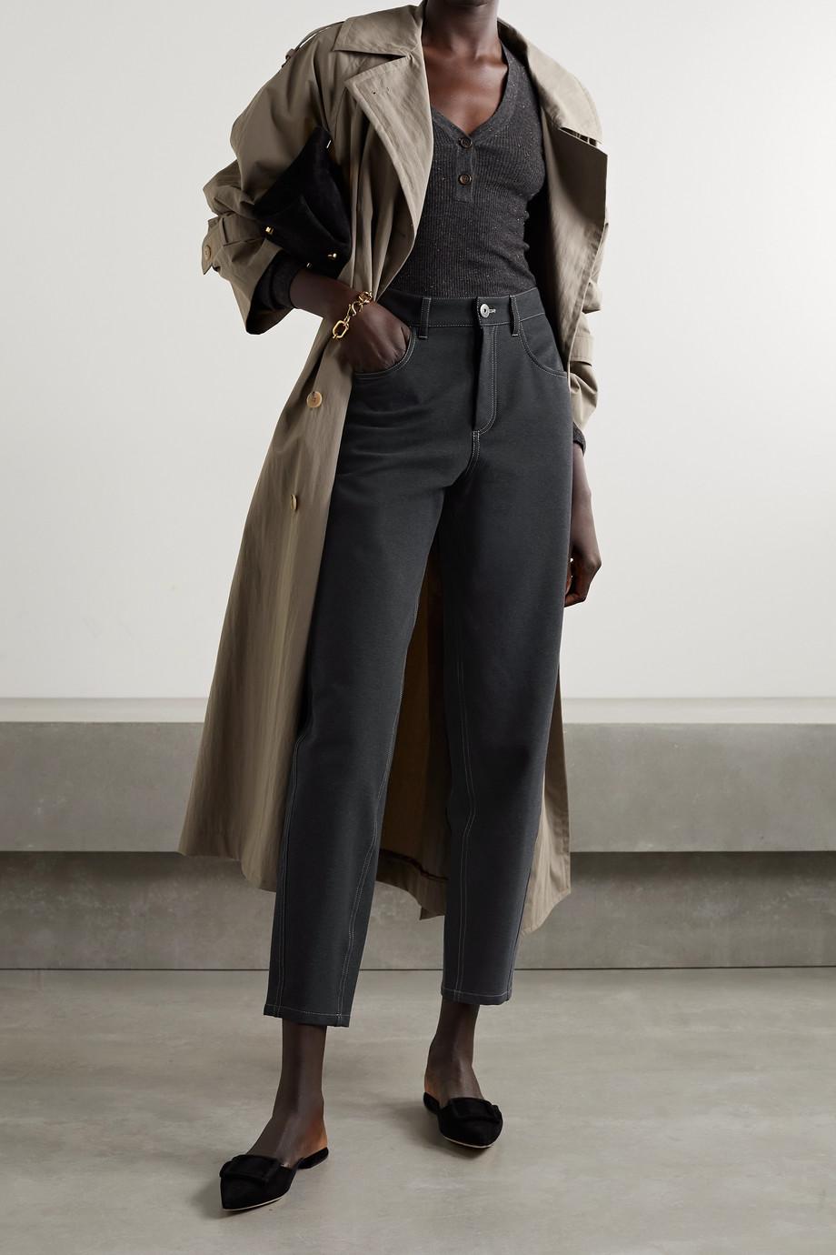 Brunello Cucinelli Pantalon fuselé en jersey de coton mélangé à perles