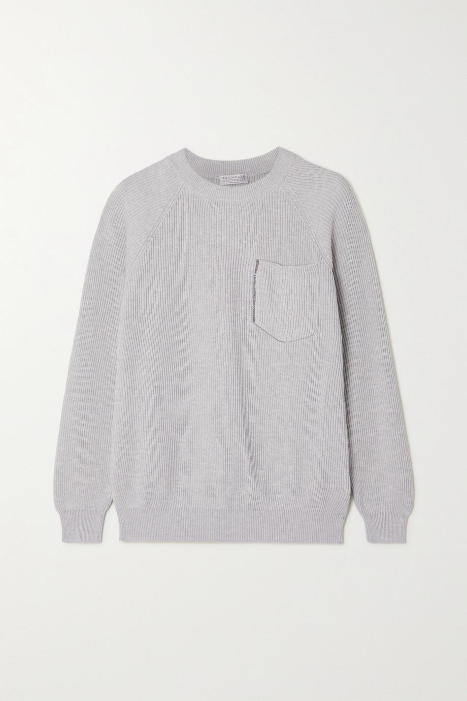 Brunello Cucinelli Pullover aus gerippter Baumwolle mit Zierperlen
