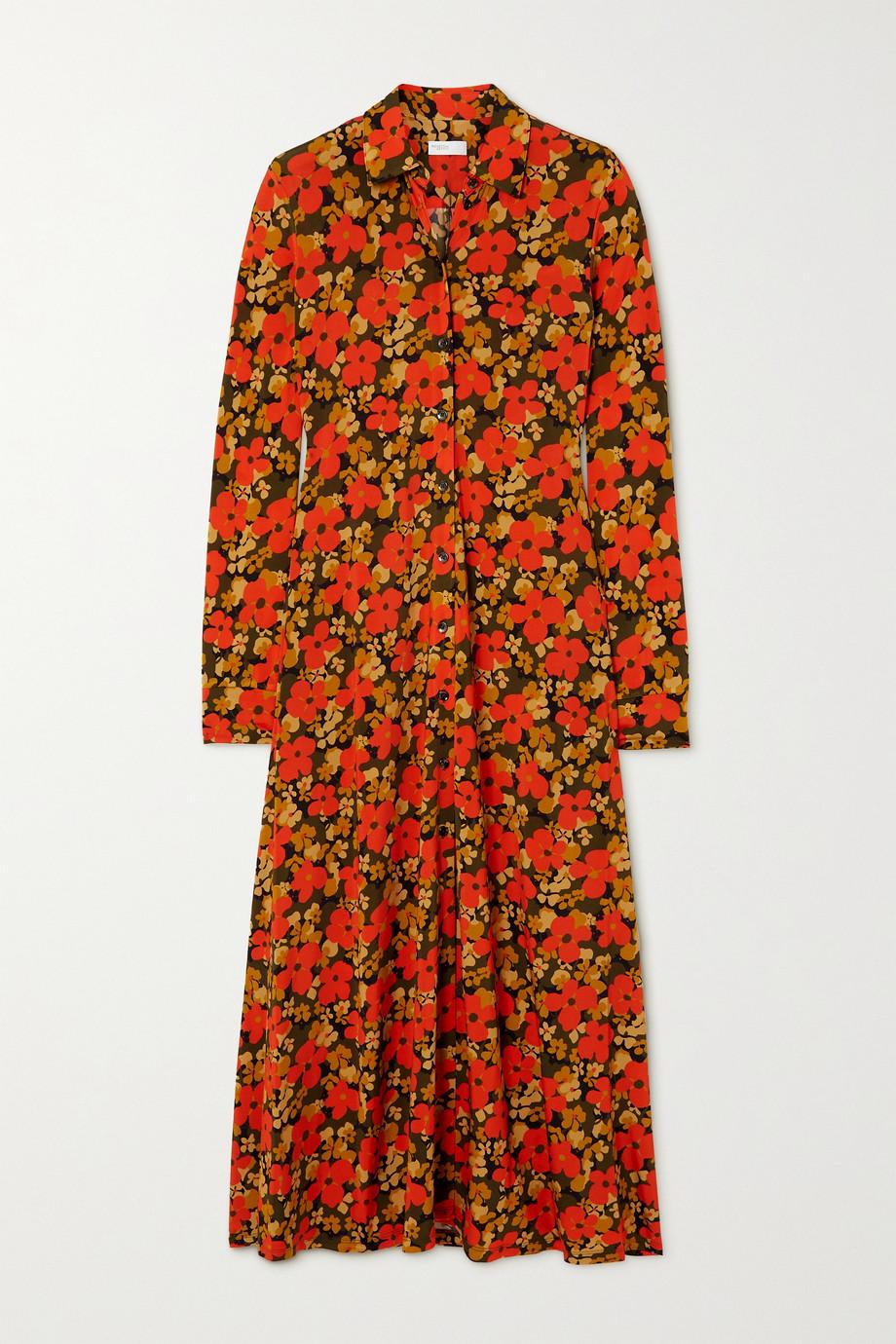 Rosetta Getty Hemdblusenkleid aus Stretch-Jersey mit Blumenprint