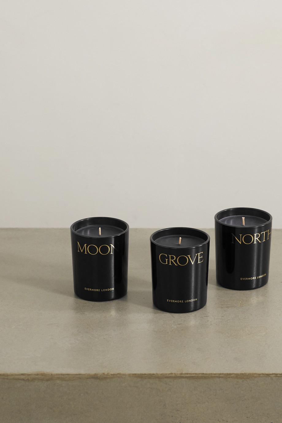 Evermore Nightfall scented candles, 3 x 145g