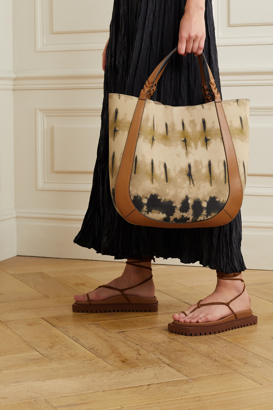 Ulla Johnson Albers leather-trimmed tie-dyed suede tote