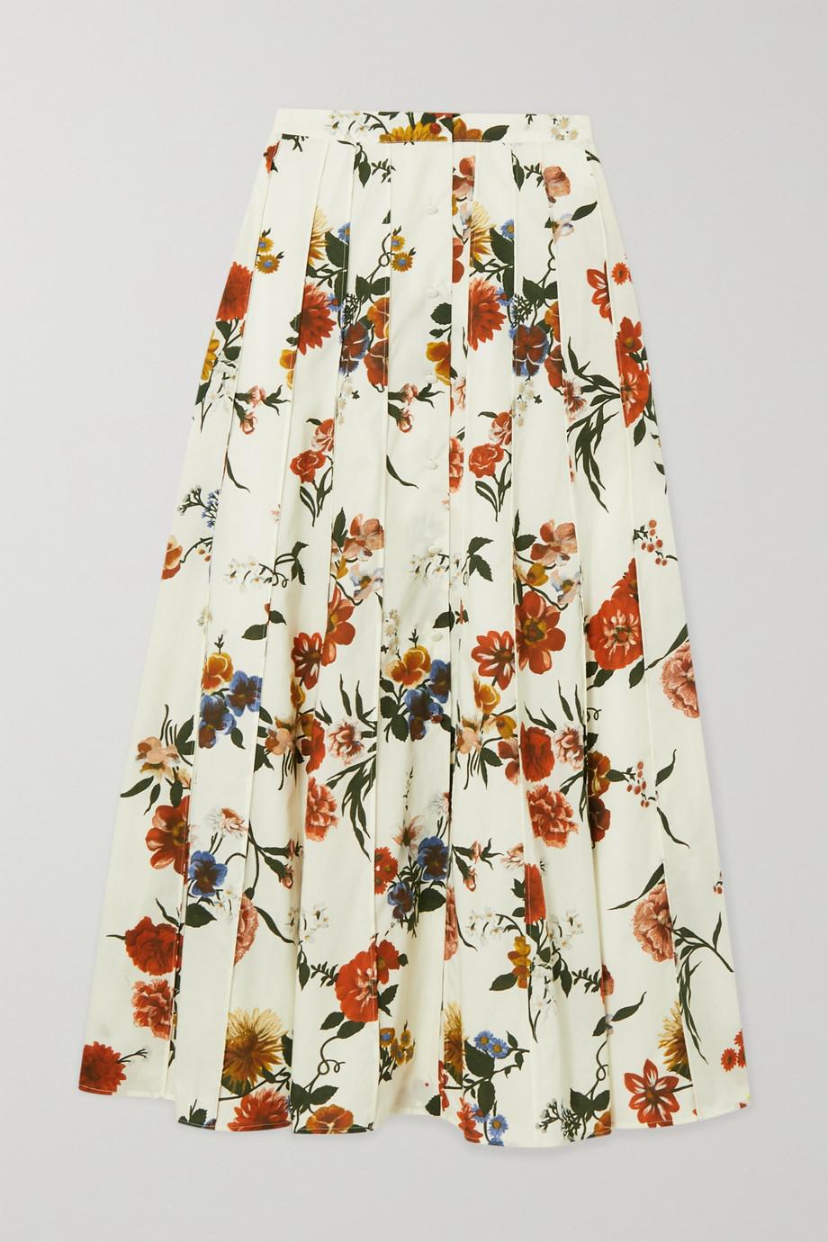 Brock Collection Jupe midi plissée en coton à imprimé fleuri Sonia