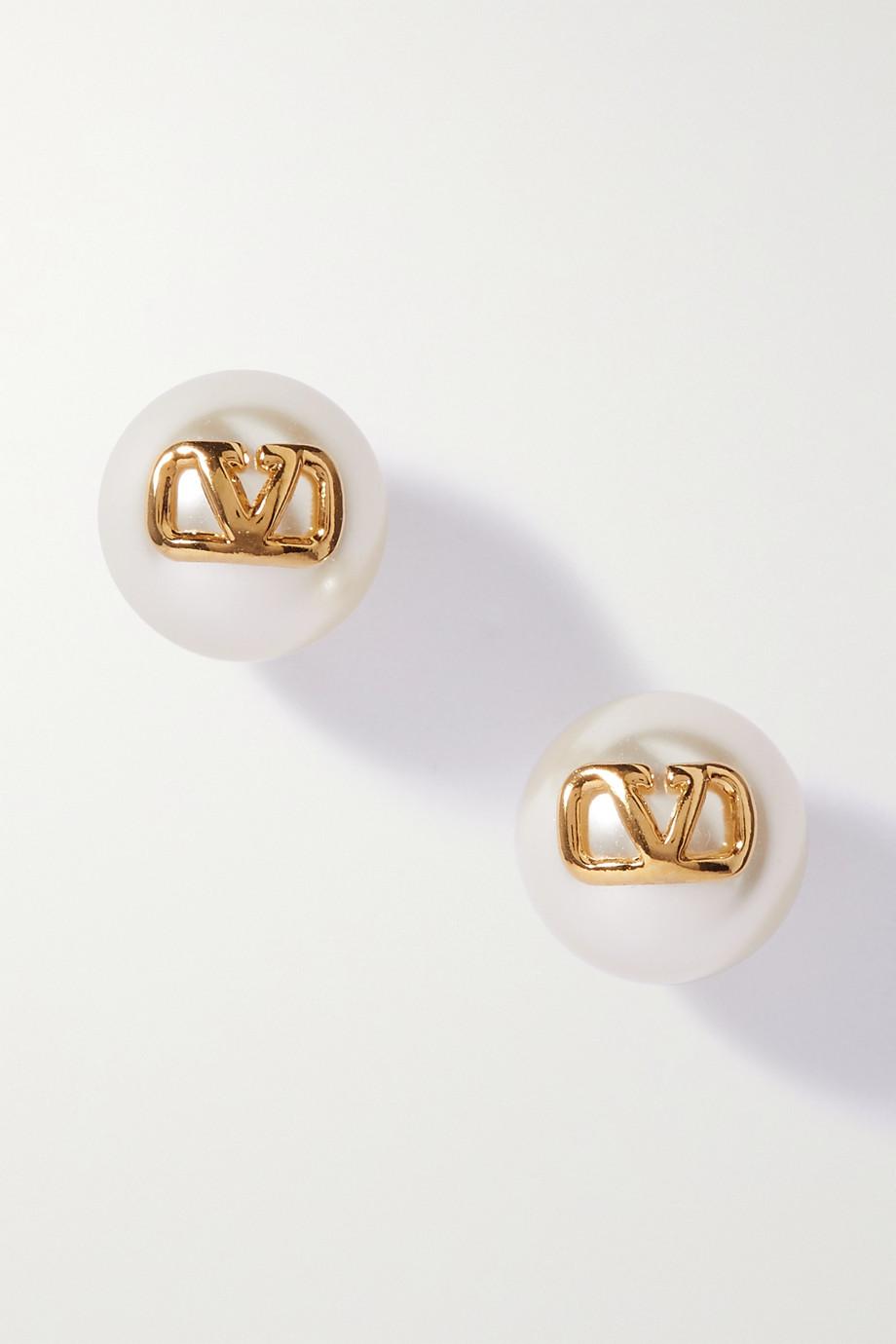Valentino Boucles d'oreilles en métal doré et perles synthétiques