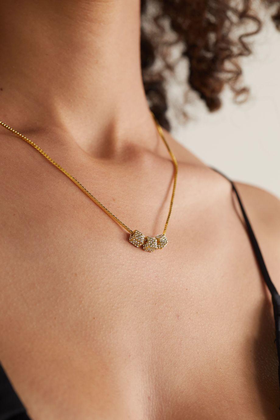 Valentino Valentino Garavani Rockstud gold-tone crystal necklace