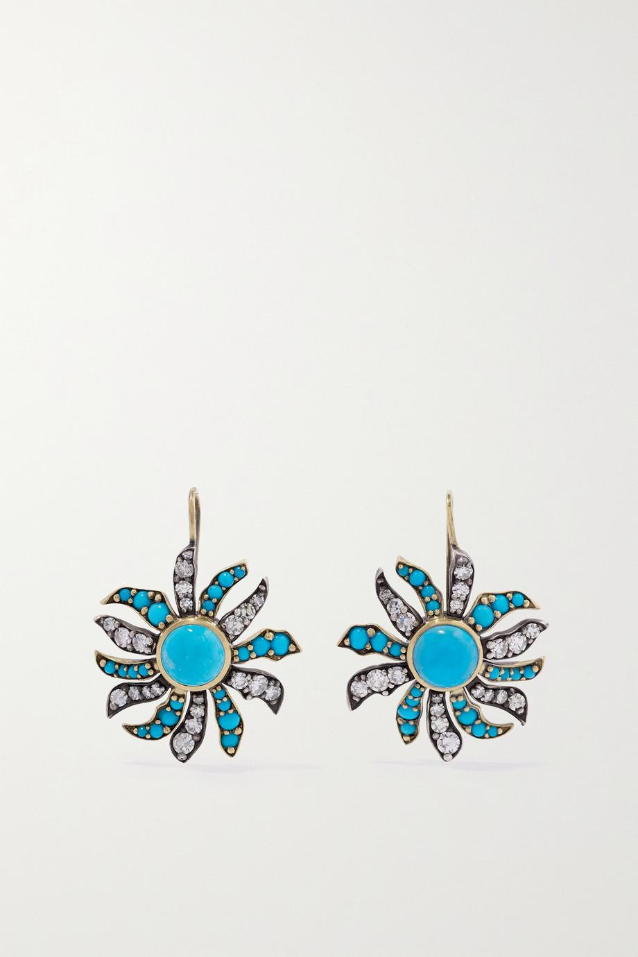 Sylva & Cie Boucles d'oreilles en or 18 carats, argent sterling, turquoises et diamants