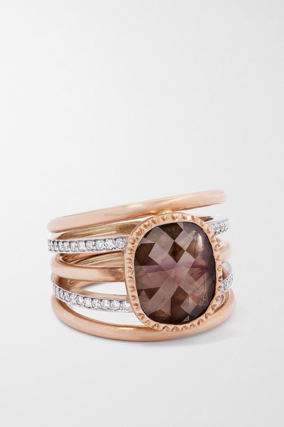 Sylva & Cie Ring aus 14 Karat Roségold und 18 Karat Weißgold mit Diamanten