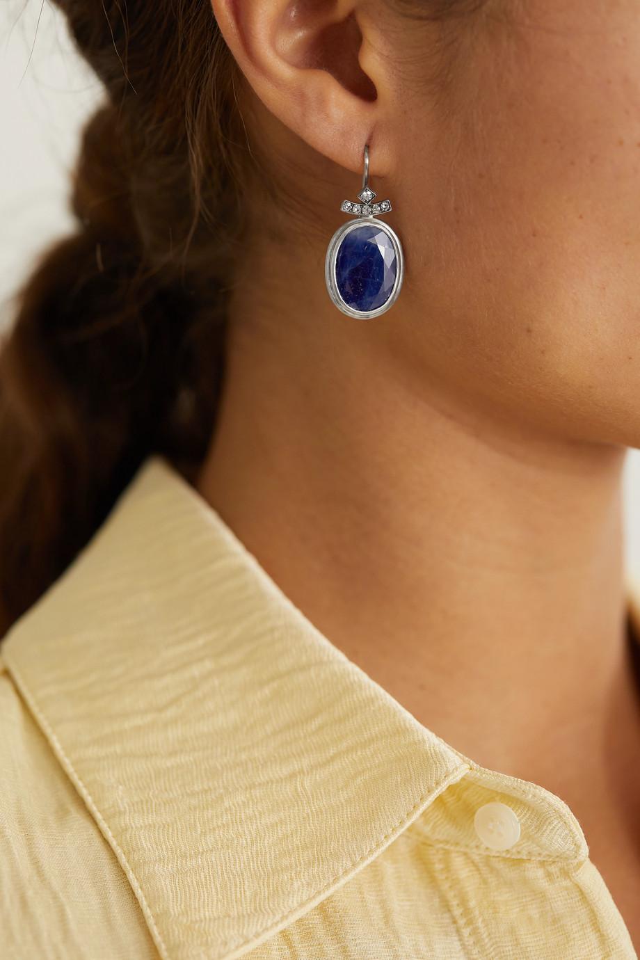 Sylva & Cie Boucles d'oreilles en or blanc 18carats, saphirs et diamants