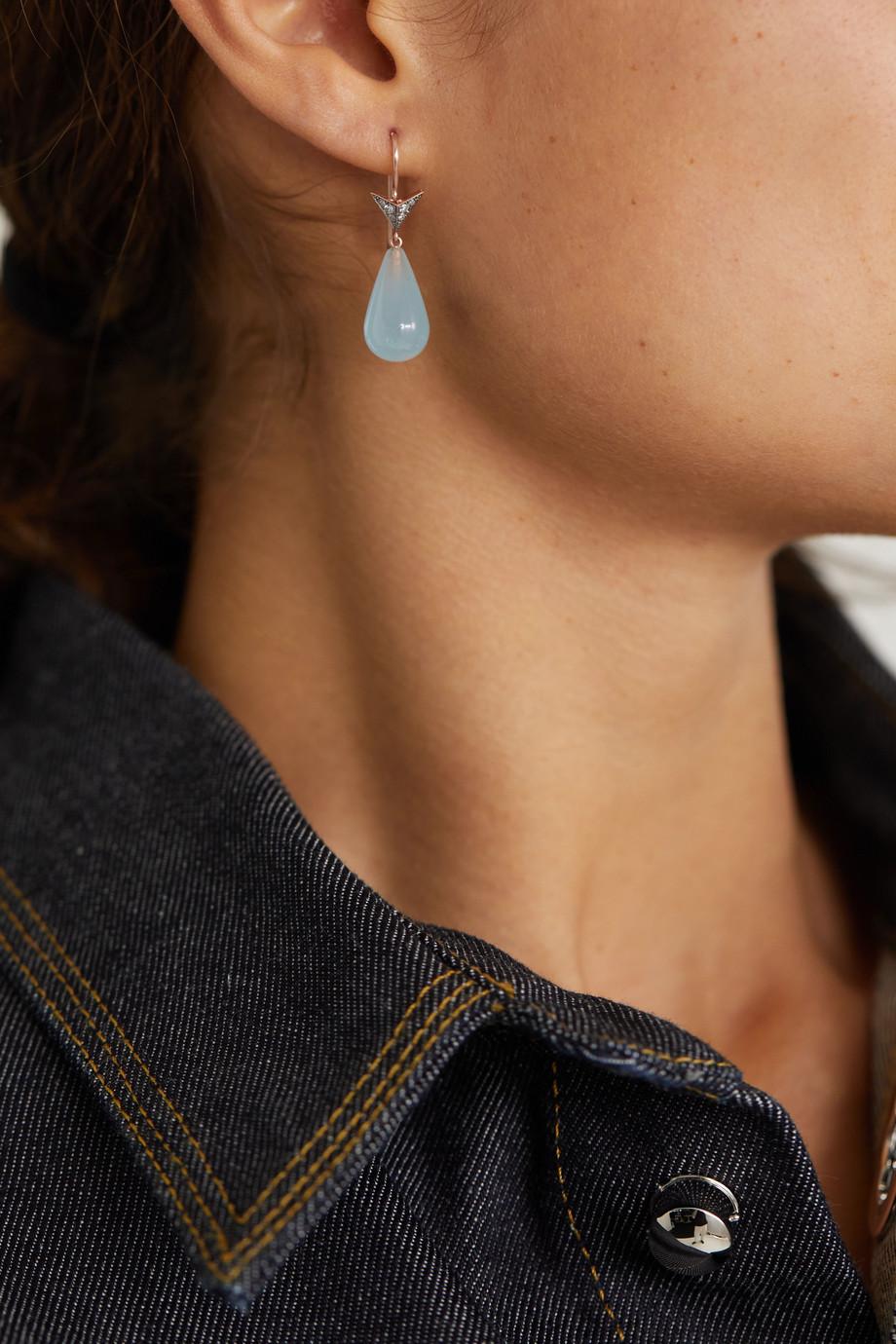 Sylva & Cie Boucles d'oreilles en or rose 14 carats, aigues-marines et diamants