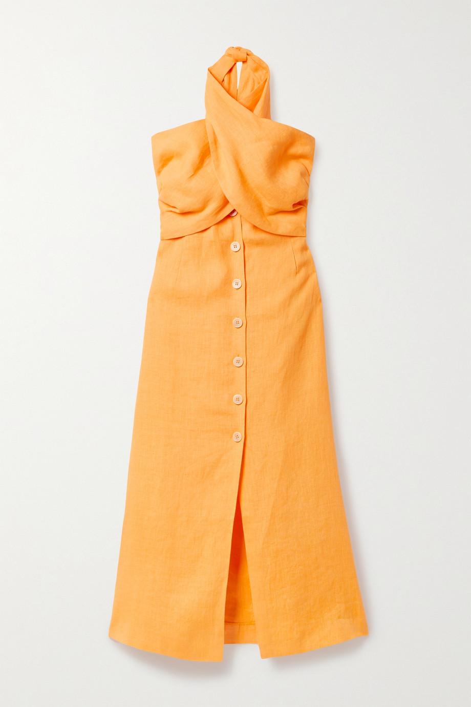 Nanushka Soffio Neckholder-Kleid aus Leinen mit Cut-out