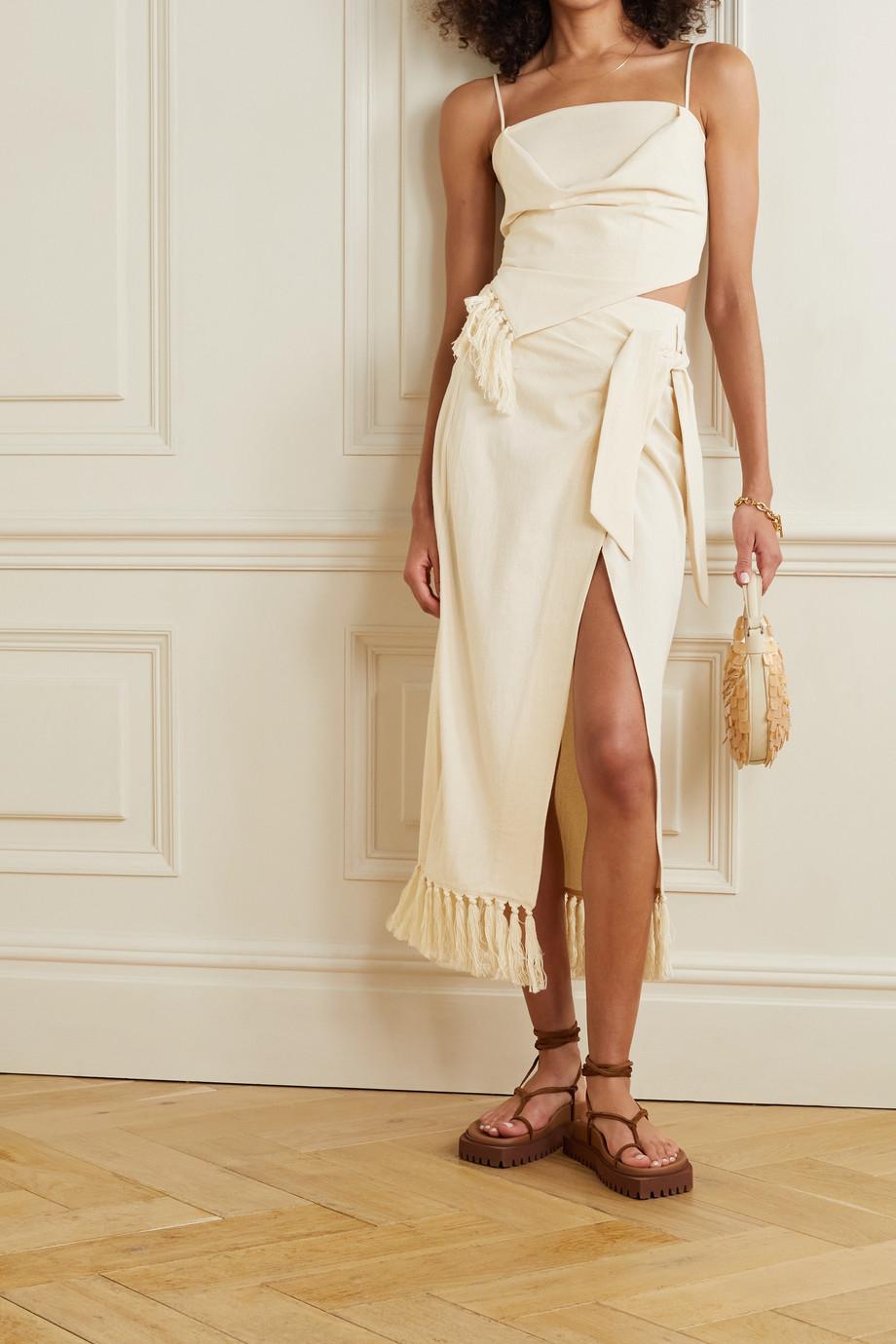 Nanushka + NET SUSTAIN Randi fringed organic cotton wrap skirt