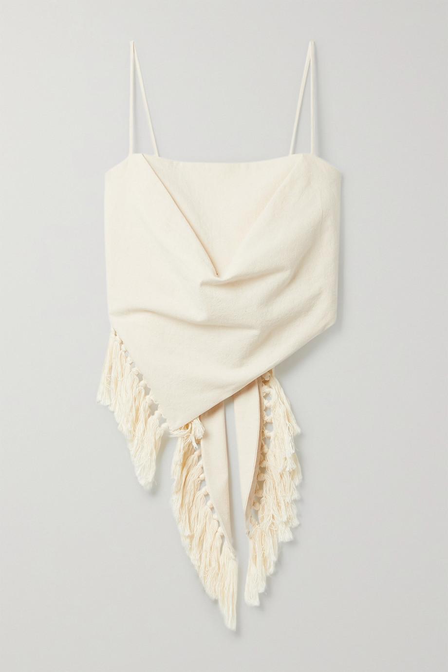 Nanushka + NET SUSTAIN Raelynn fringed organic cotton top