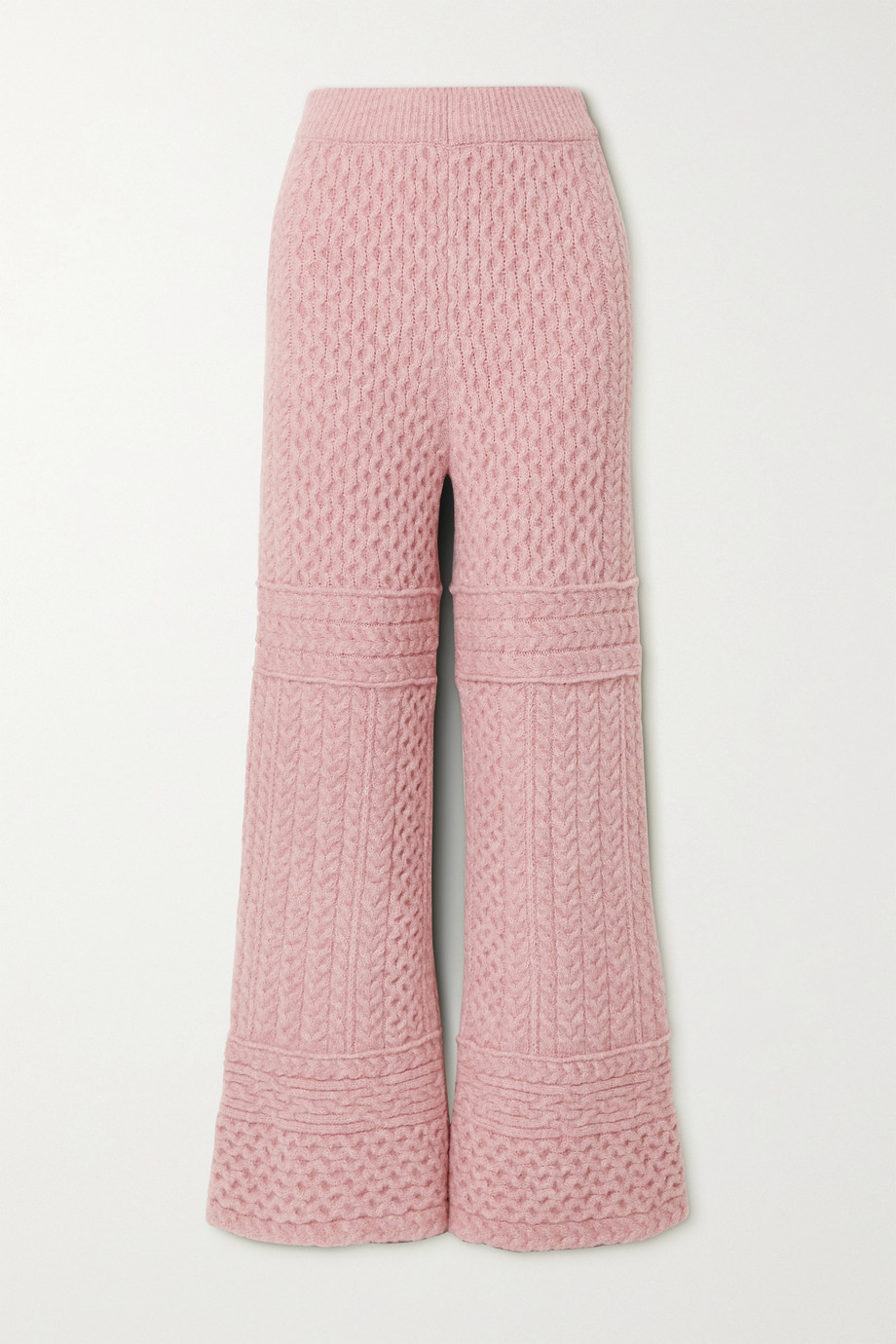 Nanushka Fina Hose mit weitem Bein aus Zopfstrick