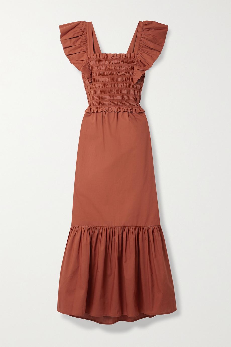 Sea Gladys cutout ruffled shirred cotton maxi dress