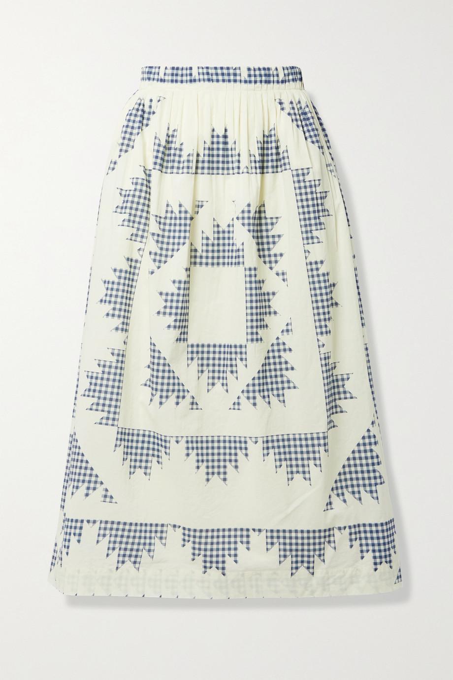Sea Jupe midi en voile de coton à carreaux vichy et à plis Gloucester