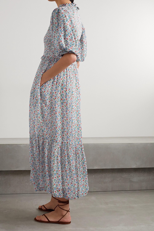 Sea Shirred floral-print voile maxi dress
