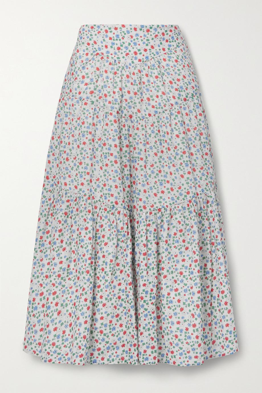 Sea Bubbie tiered floral-print cotton-voile midi skirt