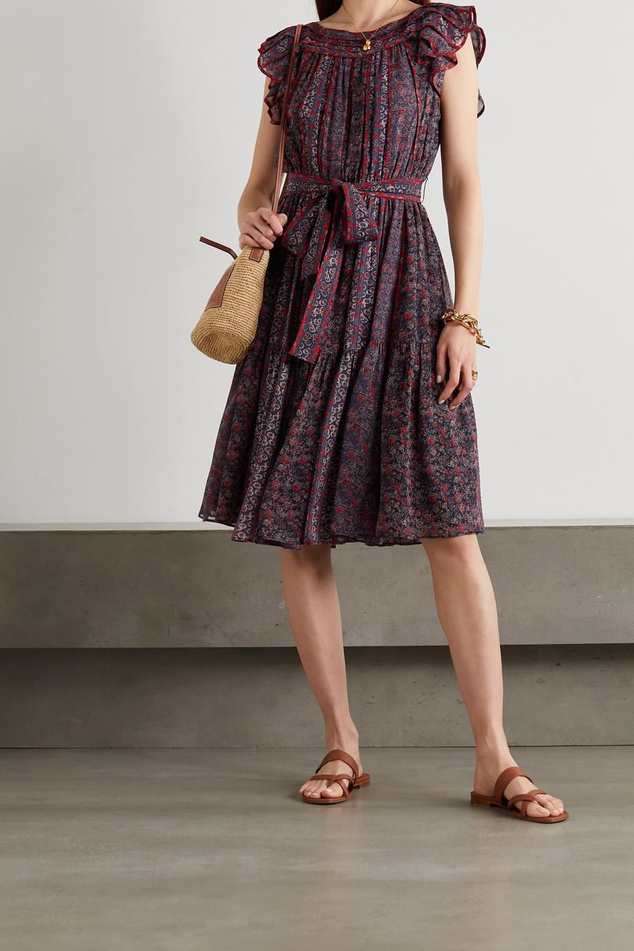 Ulla Johnson Callista Kleid aus Seide mit Blumenprint, Raffungen und Bindegürtel