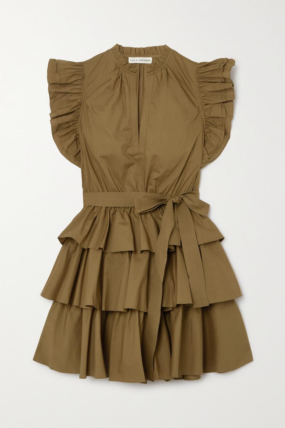 Ulla Johnson Honoria belted ruffled cotton-poplin mini dress