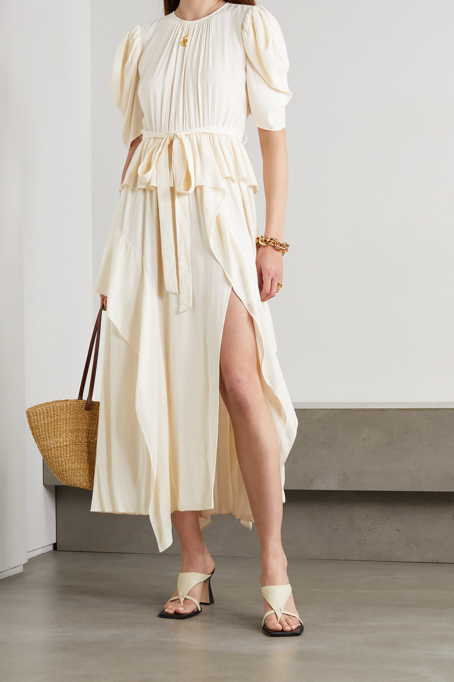 Ulla Johnson Lisbet belted draped crepe de chine midi dress