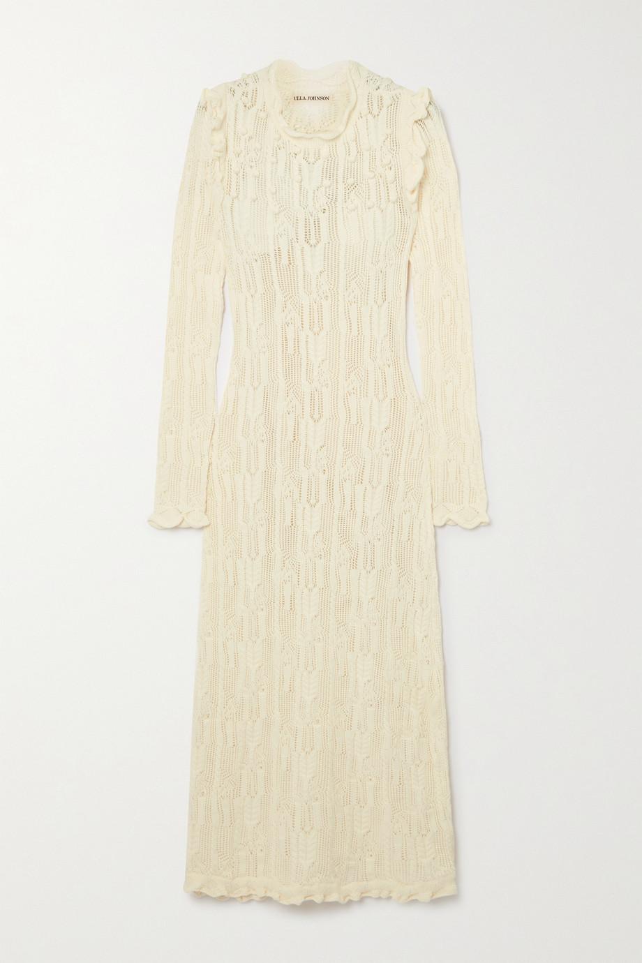 Ulla Johnson Antoille ruffled crocheted cotton-blend midi dress