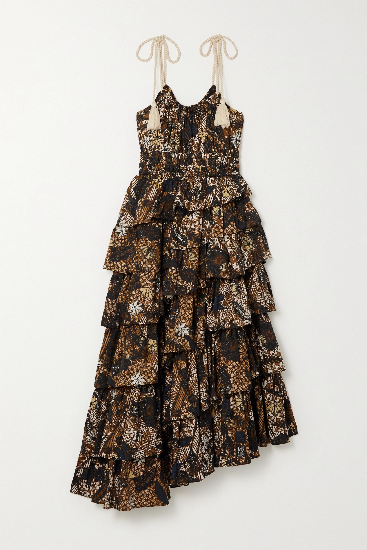 Ulla Johnson Estela asymmetric tiered floral-print cotton dress
