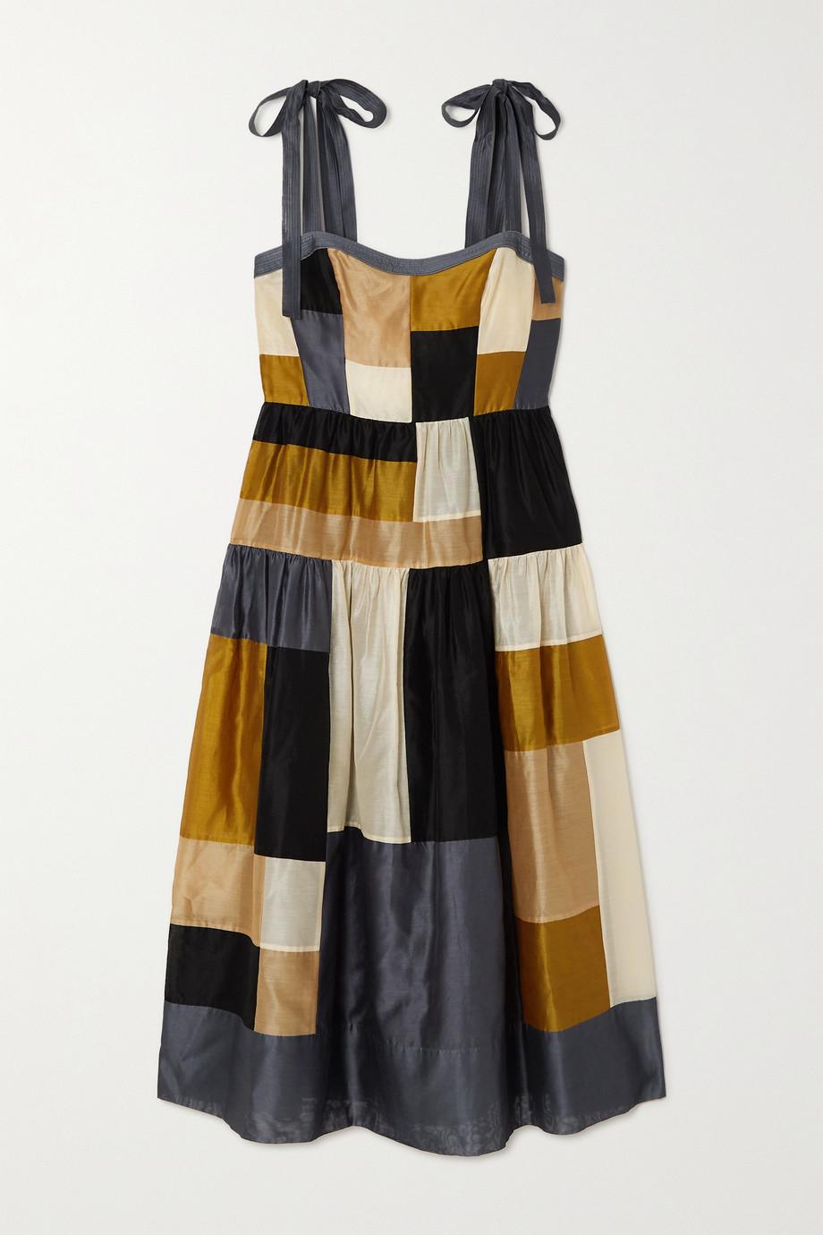 Ulla Johnson Minerva patchwork cotton and silk-blend midi dress