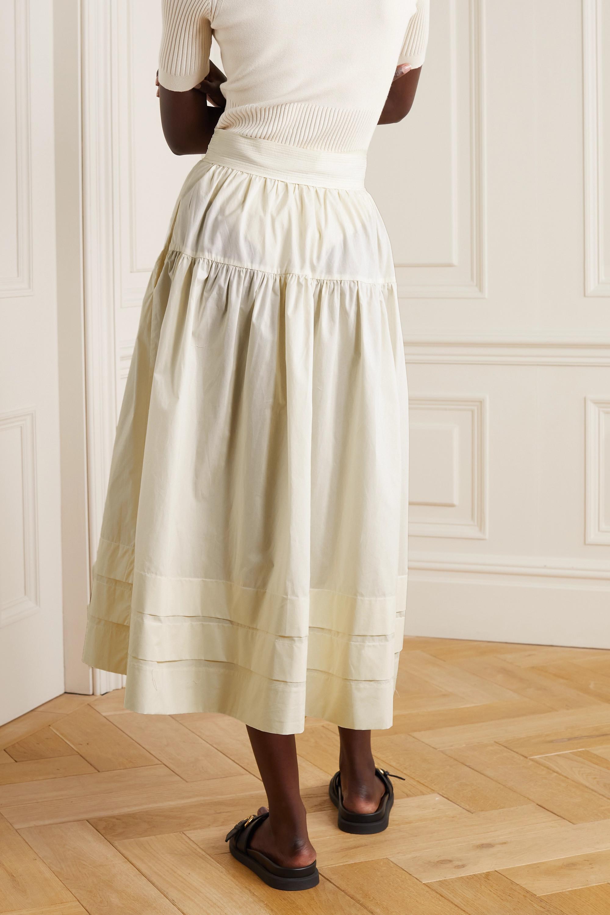 Ulla Johnson Jupe midi en popeline de coton à fronces Jacinta
