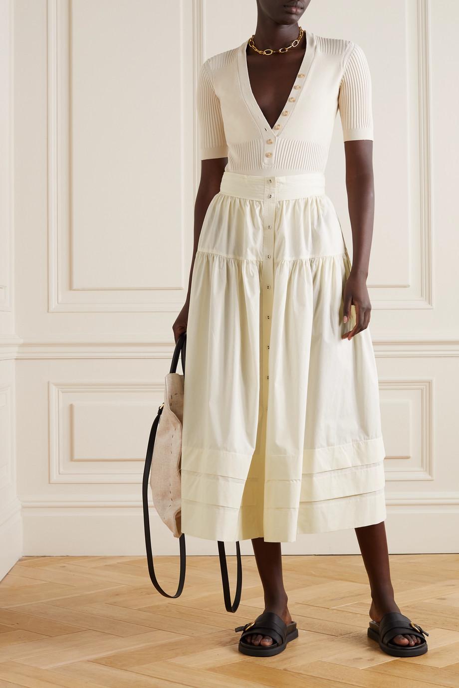 Ulla Johnson Jacinta tiered cotton-poplin midi skirt