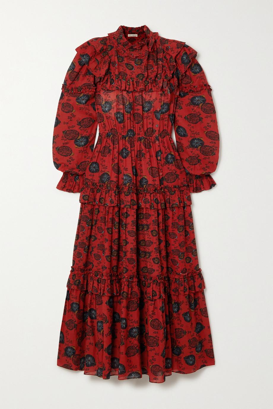 Ulla Johnson Winnifred belted tiered floral-print cotton-blend dress