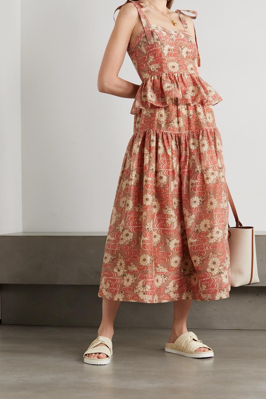 Ulla Johnson Jupe midi en coton et soie mélangés à imprimé fleuri Idalia