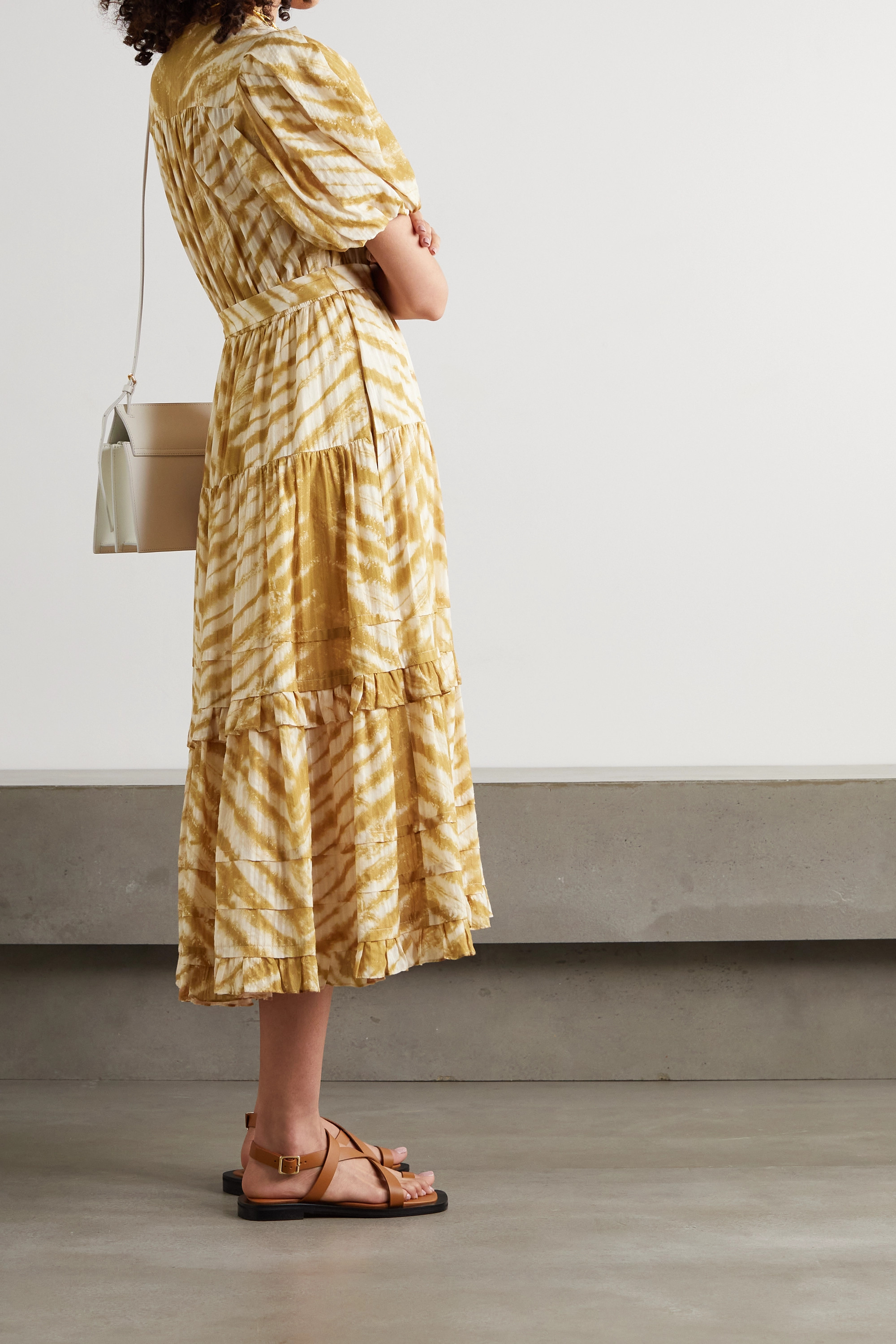 Ulla Johnson Magdalena belted tiered tie-dyed cotton midi dress