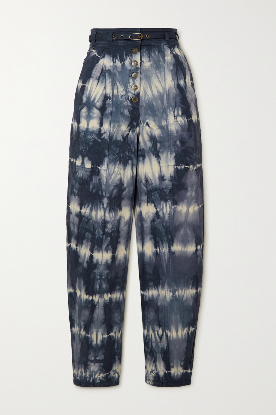 Ulla Johnson Apollo belted tie-dyed high-rise tapered jeans