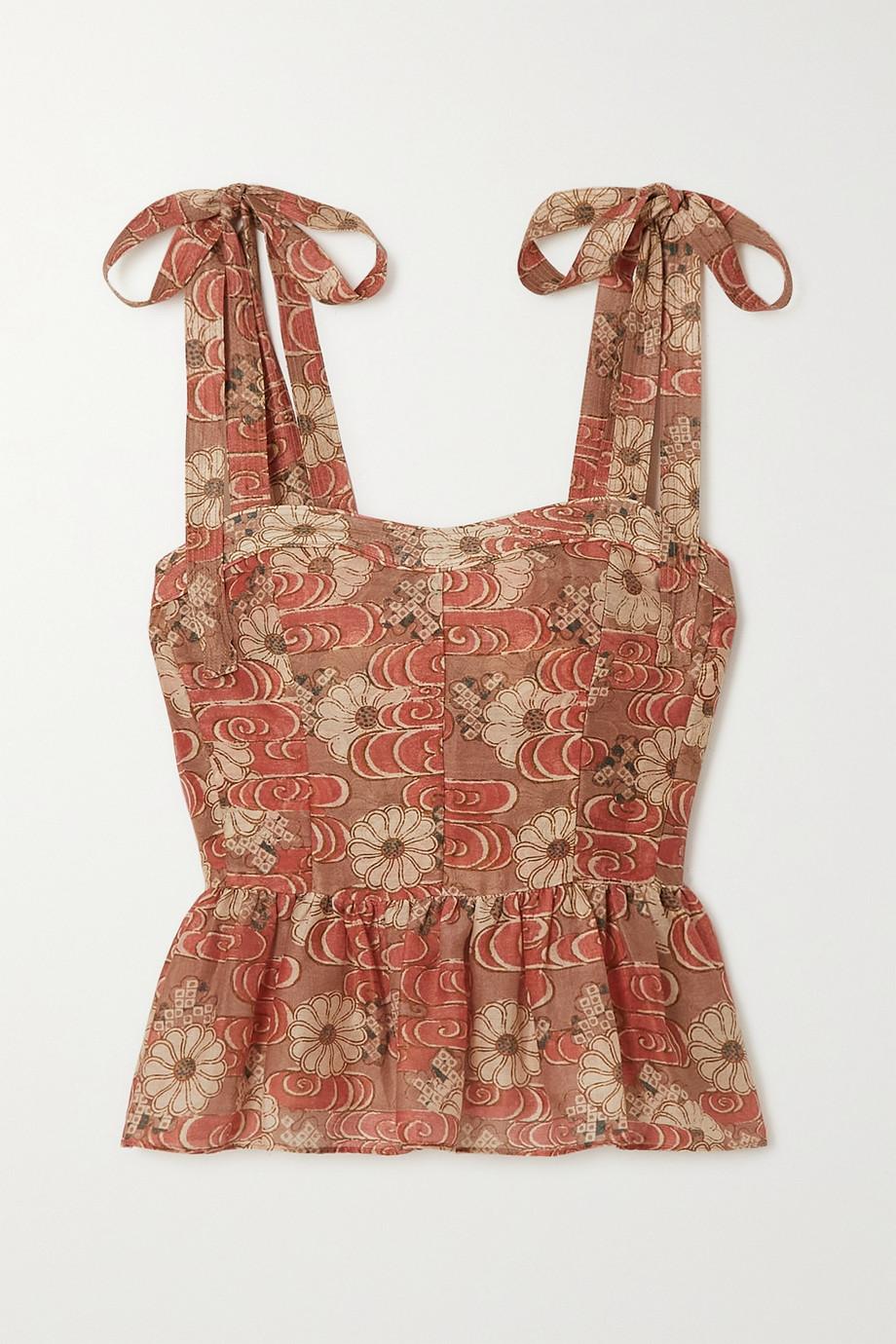 Ulla Johnson Helia floral-print cotton and silk-blend peplum top
