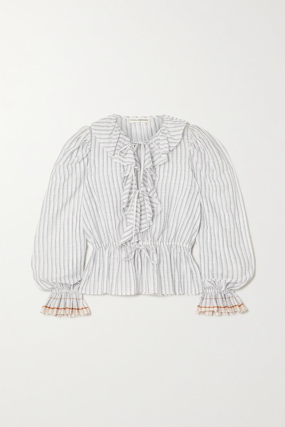 Ulla Johnson Kalila ruffled striped cotton-voile blouse
