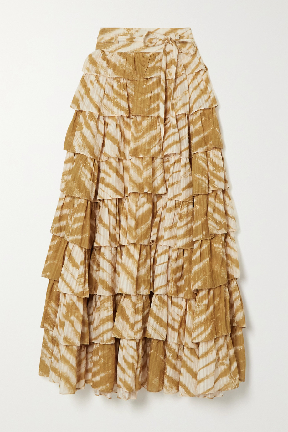 Ulla Johnson Margot ruffled tiered tie-dyed cotton skirt